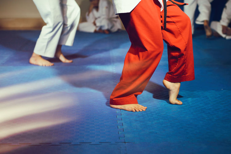 Low Section Of People Practicing Martial Arts On Floor