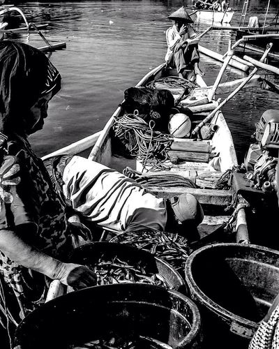 Fisherman Fisherman Boat Real People Fish Blackandwhite