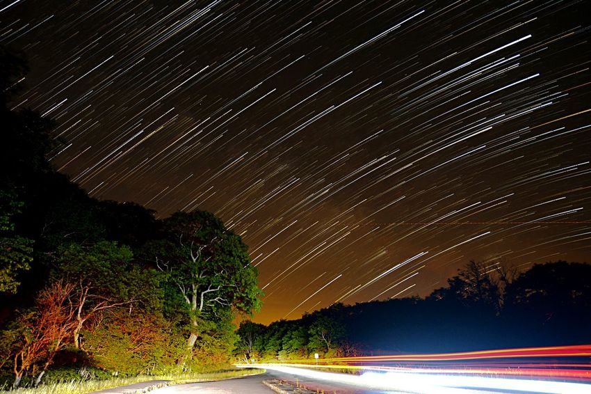 """""""Stars can't shine without darkness"""". What do you wish for? Startrailing Boone NC Blue Ridge Parkway Mountains Open Shutter First Eyeem Photo Stars Night Photography Creative Light And Shadow"""