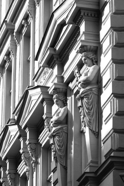 Beauty in details Architecture Detail Façade Building Exterior Sculpture Outdoors No People Day Low Angle View Blackandwhite Black & White Black And White Photography Traveling Photography Woman Statue Beauty In Detail Travel Destinations Old Town EyeEmNewHere