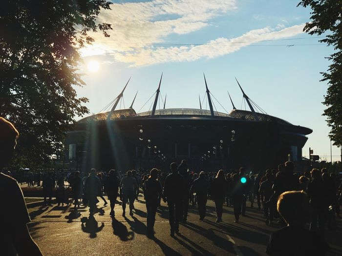 """The stadium in St. Petersburg. """"Zenith"""" and """"Spartacus"""" the stadium """"St. Petersburg"""". 02.09. 2018 Last Days Of Summer Saint Petersburg Is Sold Out Спартак зенит Spartacus Zénith  Group Of People Crowd Real People Sky Arts Culture And Entertainment Nature Large Group Of People Enjoyment Event Lifestyles Festival Outdoors Architecture Leisure Activity Men Performance"""