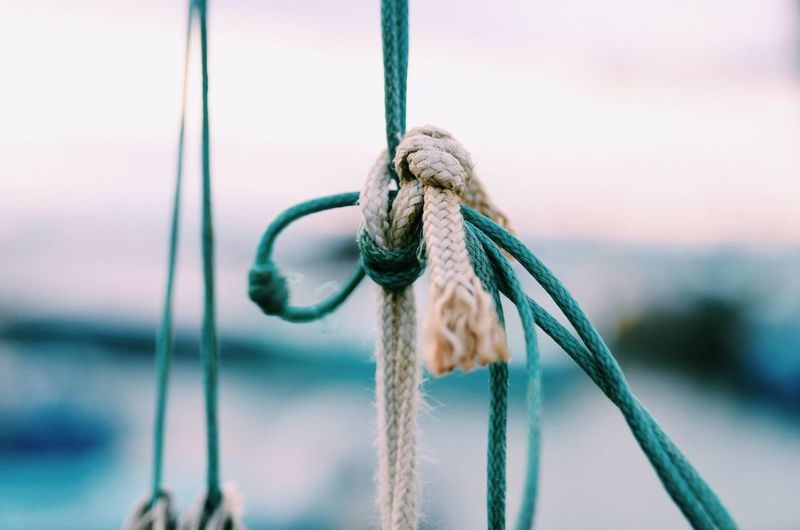 Close-up of knotted ropes