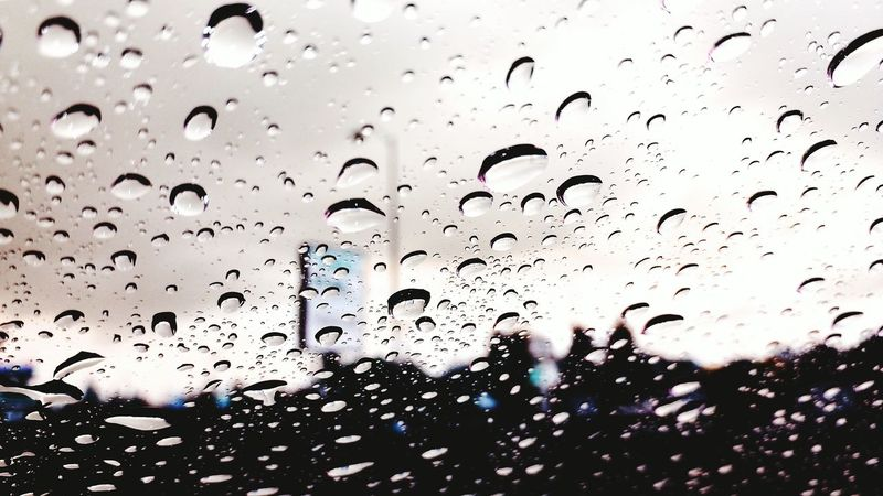 Rain Drops Rain Windshield Looking Through The Window Abstract Cool Colors Gloomy Weather