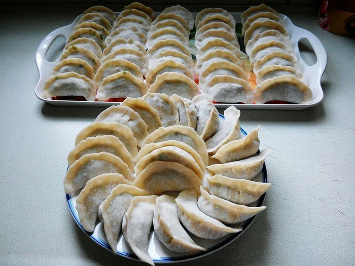 High angle view of chinese dumplings served on table