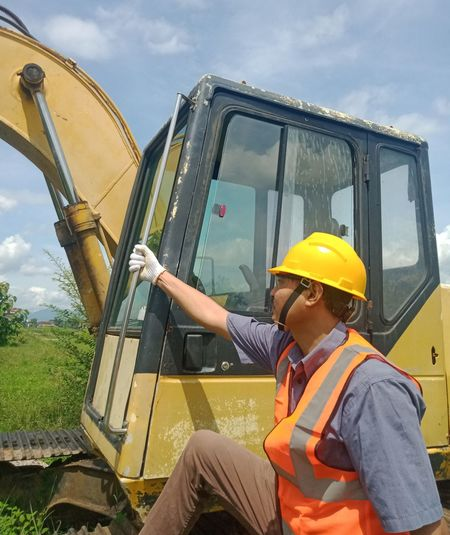 Side view of man working