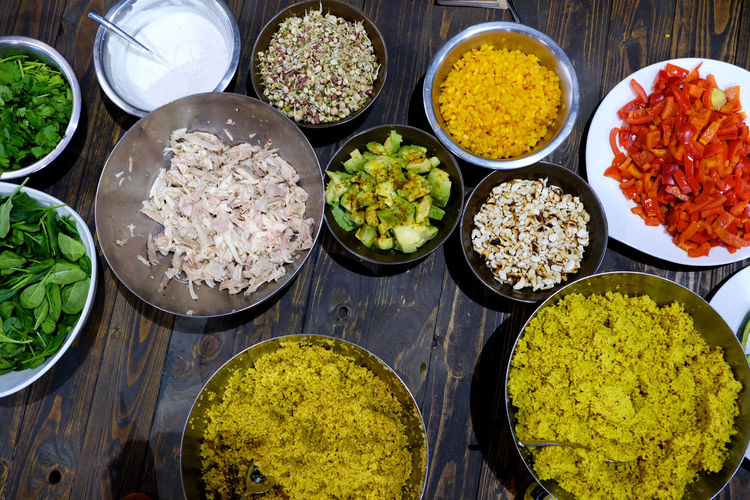 Bowls filled with healthy food. Vegetarian Food Abundance Bowl Choice Close-up Day Food Food And Drink Freshness Healthy Eating High Angle View Indoors  Large Group Of Objects No People Ready-to-eat Rice - Food Staple Variation Vegetable Vegetables