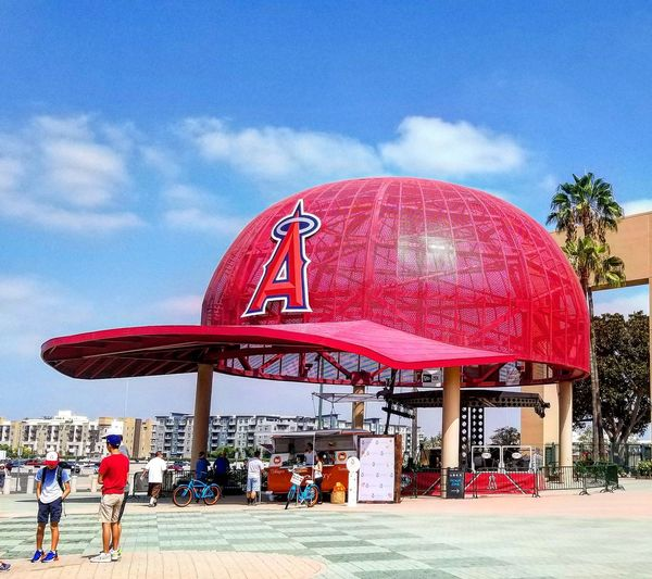 Angels Stadium Summer Road Tripping Baseball Los Angeles, California Major League Baseball California Americas Pastime Mlb Baseball Hat Hat City Red Sky Architecture Cloud - Sky Built Structure Visiting
