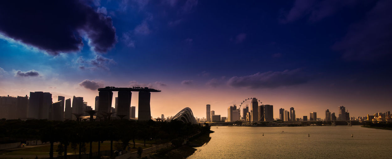 Panoramic View Of City Buildings Against Sky During Sunset