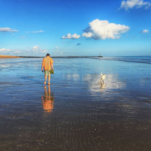 There was water everywhere. English Beach Relections Water Sky Sea Standing Person Scenics Cloud - Sky Day Getting Away From It All Beauty In Nature Cloud Solitude Seaside Dog Dog Walking