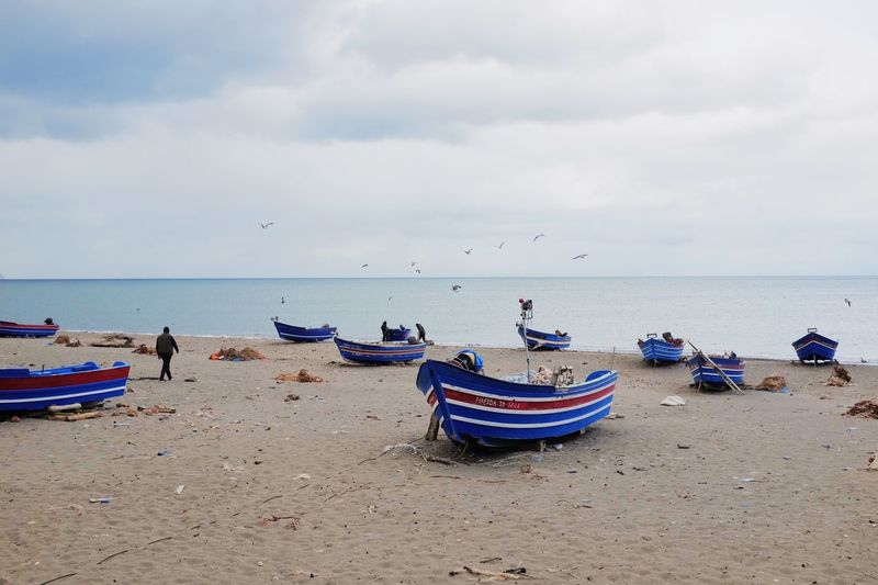 Boat Daylight Fishing Boat Horizon Over Water Incidental People Marocco Mode Of Transportation Outdoors Scenics - Nature Sea Sky Transportation Water