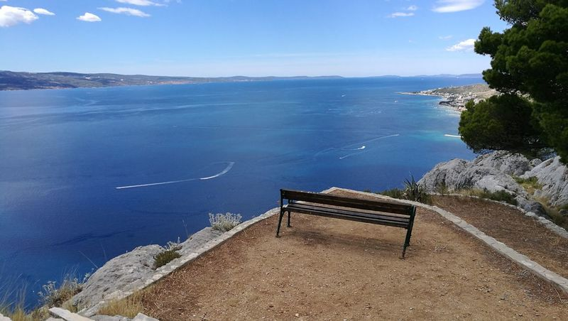 The Week On EyeEm Sea Water Blue Beauty In Nature No People Scenics Vacations Horizon Over Water Sky Outdoors Bench In Nature Blue Sky Blue Sea Omis Croatia Omis Adriatic Sea Your Ticket To Europe