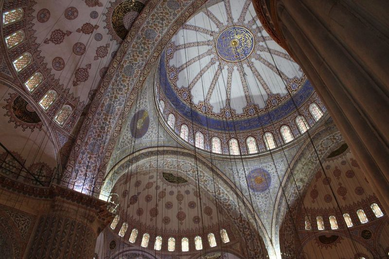 Low Angle View Of Ceiling In Blue Mosque