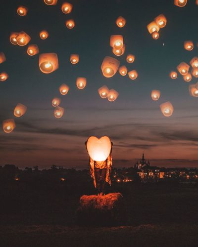 Illuminated Sunset Sky Night Outdoors Real People Lantern One Person Nature City People