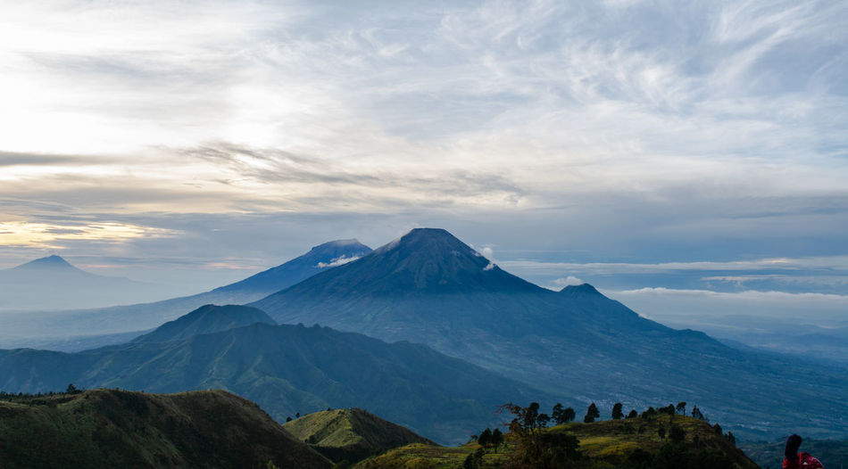 The view from the top of mount prau and the activities of the climbers near the camping tent
