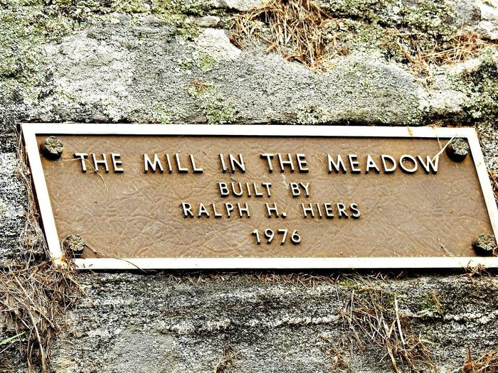 plaque for the Mill in the meadow in Granville Massachusetts. Mill Watermirror Water Mill Sign Historical Building Historic Plaque Massachusetts Granville Brown History Rock - Object Lichen