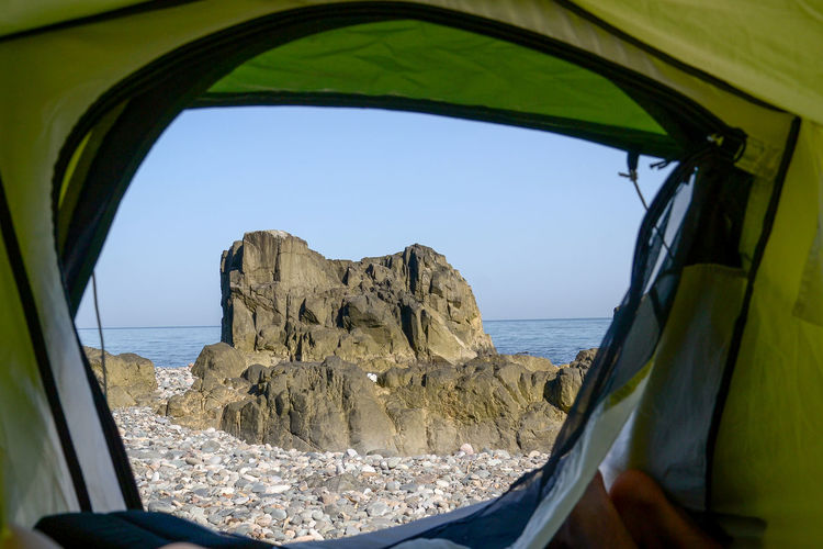 Batumi Camping Done That. EyeEm Nature Lover Georgia Travel View WeekOnEyeEm Batumi Beach Beach Beauty In Nature Clear Sky Day Horizon Over Water Nature No People Rock - Object Rocks Sea Sky Stones Stones & Water Tent