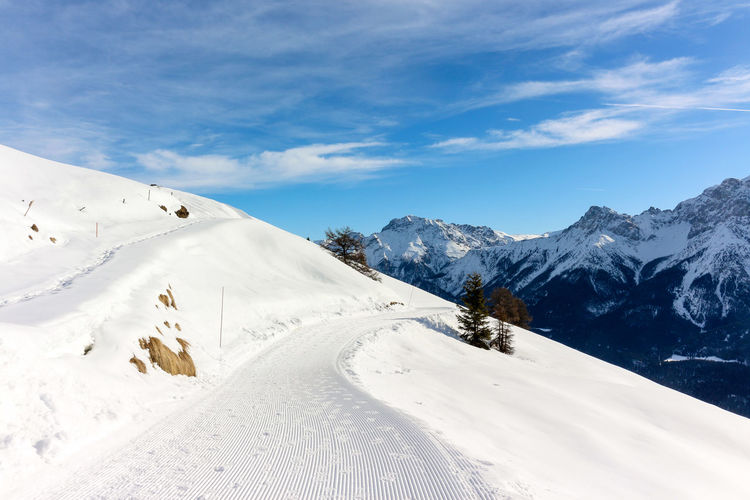 Winter hiking in scuol, switzerland