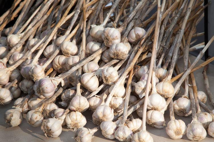 High angle view of garlics on table