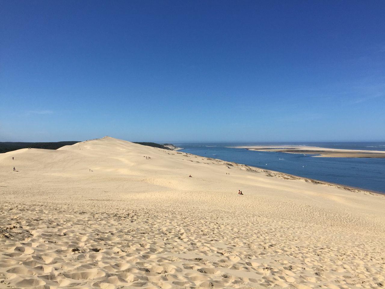 Scenic view of dune of pilat against sky