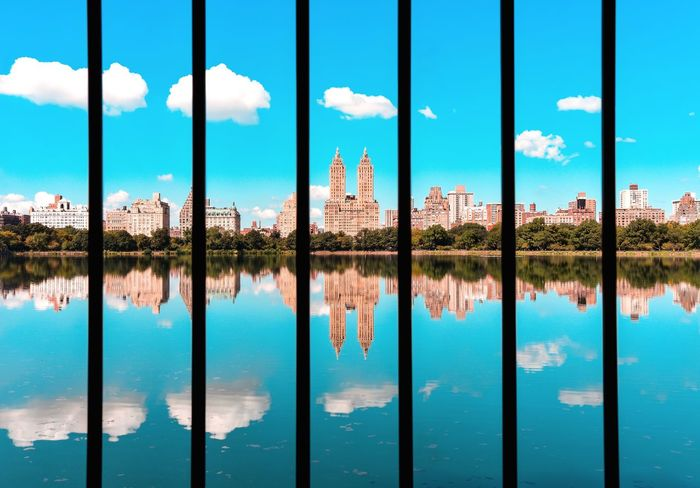 central park New York New York City Central Park Central Park - NYC Newyorknewyork A New Beginning Water Politics And Government Symmetry Blue Window Reflection Pattern Sky Close-up Cloud - Sky Reflection Lake Full Frame Backgrounds Standing Water Detail LINE