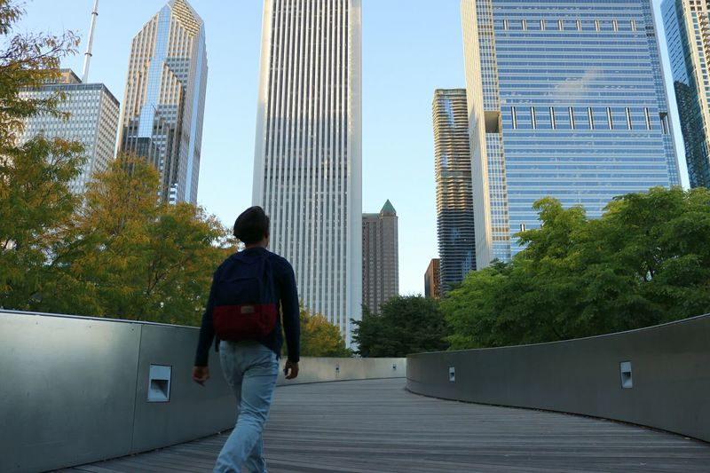 Skyscraper City City Life Outdoors People And Places Colorful Fun Enjoying Life New Memories Illinois Chicago Lifestyles Sky Tall Day Multi Colored Low Angle View Hanging Out