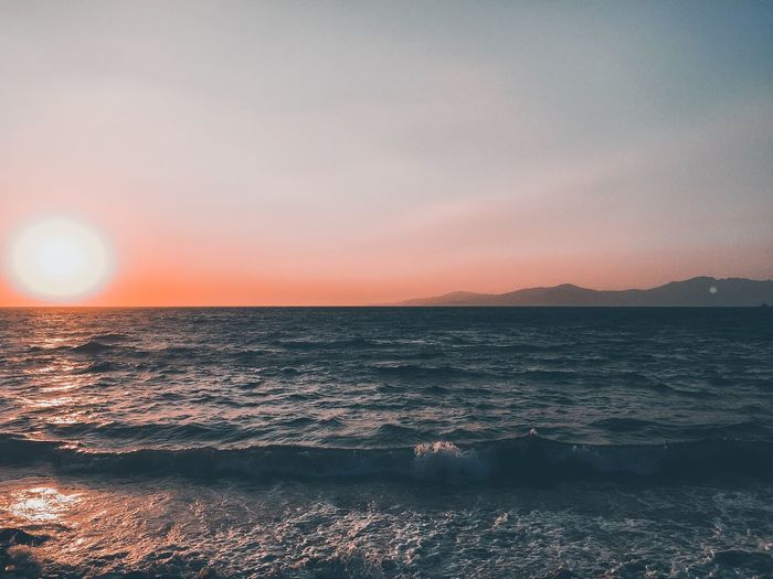 Aegean sea Sky Sea Sunset Water Beauty In Nature Scenics - Nature Horizon Over Water No People Land Orange Color Nature Sun Tranquil Scene Beach Idyllic Horizon Non-urban Scene Tranquility Outdoors Sunlight