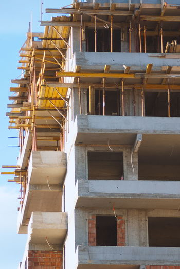 Low angle view of building at construction site