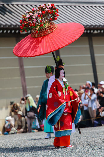 Aoi Matsuri Parade Aoi Matsuri Celebration Celebration Event City City Life Costume Cultures Day Decoration Dress Festival Focus On Foreground Japanese  Kyoto, Japan Leisure Activity Lifestyles Outdoors Parade Red Traditional