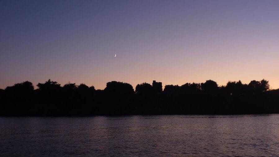 Beauty In Nature Calm Castle Dusk Moon Moonlight Night Non Urban Scene Scenics Silhouette Tranquil Scene Water Nature Outdoors Tranquility Non-urban Scene