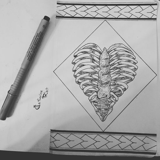 Pattern Drawing - Art Product Sketch Skeleton Chest Heart Shape Brokenhearted Blackandwhite Ink 0.1mm