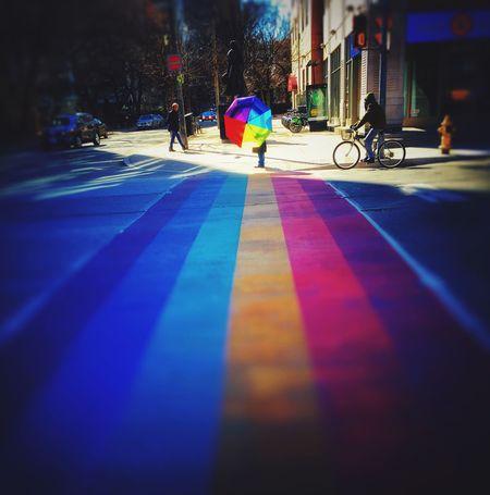 Learn & Shoot: Balancing Elements Wanderlust Toronto Church & Wellesley Street Rainbow Crosswalks in Toronto EyeEm Best Shots Creative Shots Rainbow Umbrella Urbanphotography