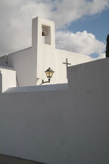 Last stop Last Restplace Ibiza Spain Cementary Architecture Built Structure Sky Building Exterior Cloud - Sky Nature Day Communication Satellite Shadow Wall Whitewashed Outdoors White Color Sunlight Low Angle View No People Wall - Building Feature Building