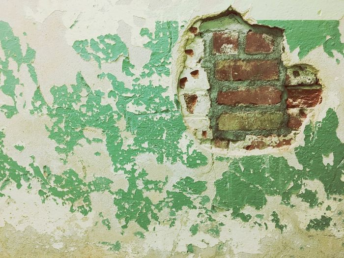 Textures And Surfaces Wall - Building Feature Textured  Weathered Old Paint Built Structure Green Color Rough Architecture Backgrounds Pattern Close-up Rusty No People Indoors  Day Painted Image Brick Wall Chiped Paint Broken Wall Background Texture