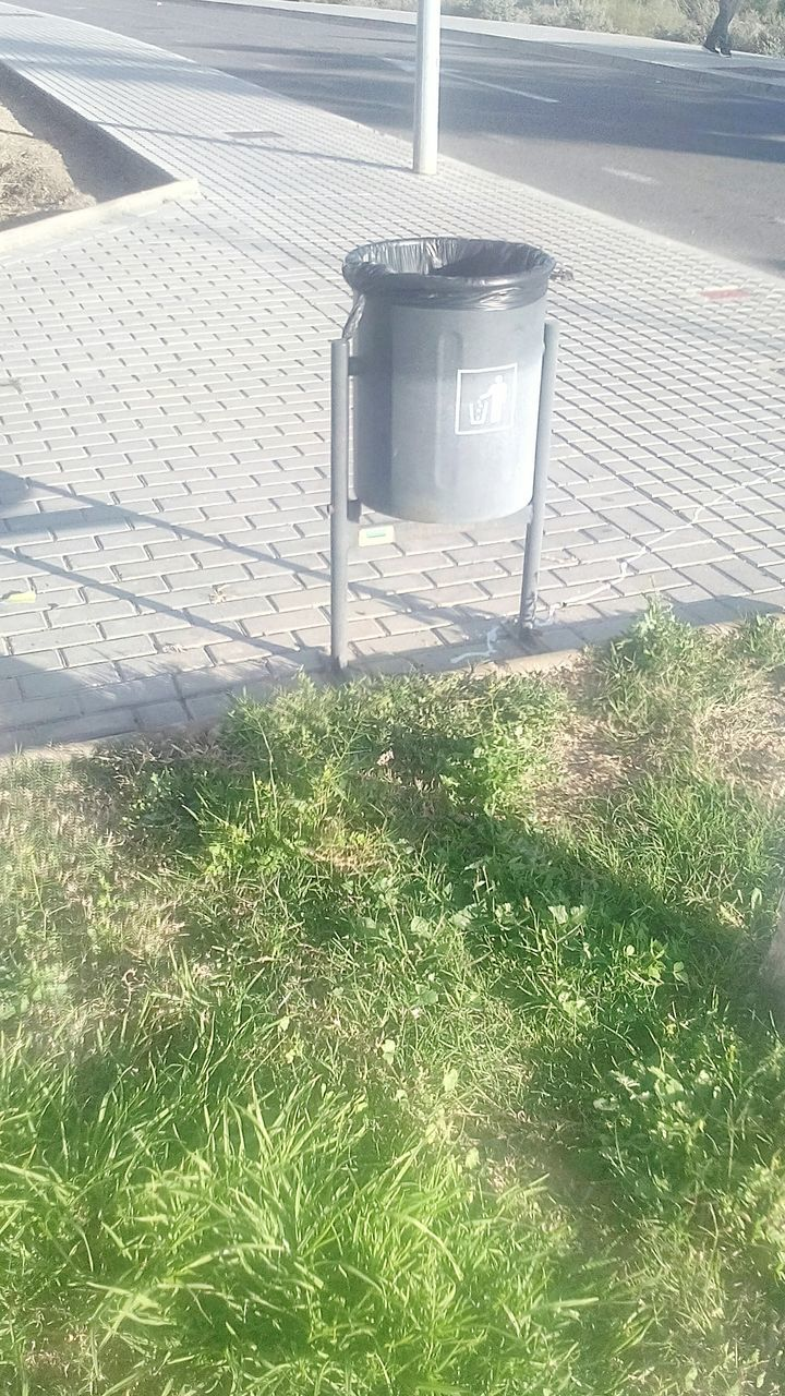 garbage can, grass, metal, day, outdoors, no people, high angle view