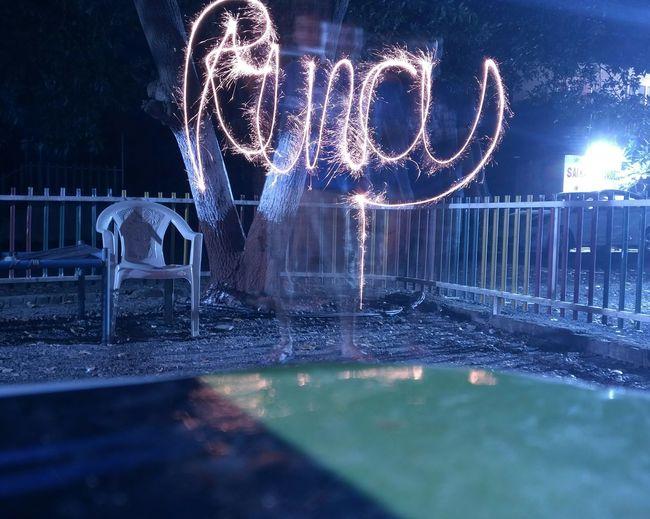 Illuminated lighting equipment in water at night