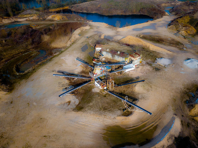Gravel Quarry at the lake Beach Dirt Gravel Quarry High Angle View No People Outdoors Sand Sunlight Tranquility