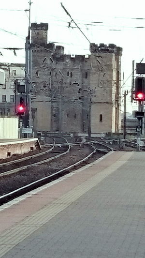 The Keep from platform 3 Newcastle Upon Tyne Castles Train Station