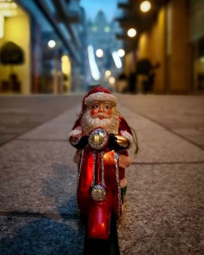 Santa on a Scooter at Tower Bridge London Focus On Foreground Tradition Christmas City Christmas Decoration No People Close-up Illuminated Santa Santa Claus Father Christmas Urbanphotography Tower Bridge  Christmas Christmas Tree Celebration Urban London Lifestyle City Life Streetphotography London City Night Architecture