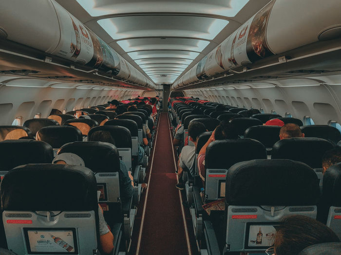 Group of people in airplane