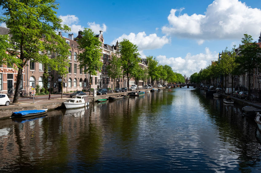 Amsterdam Amsterdam Canal Architecture Building Building Exterior Built Structure Canal City Cloud - Sky Day Mode Of Transportation Moored Nature Nautical Vessel No People Outdoors Plant Recreational Boat Reflection Sailboat Sky Transportation Tree Water Waterfront