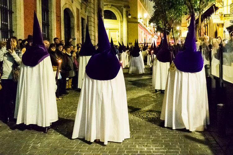 Semana santa on street at night