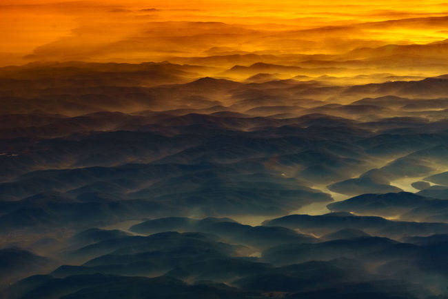 Atmospheric Mood Dramatic Sky Foggy Majestic Mist Misty Mountains Overcast River Sunset Tranquil Scene Valley Landscape Dramatic Goldenhour Eye4photography  Turkishfollowers VSCO Daily Commute Backgrounds Eye Em! Mountain Range Aerial View Aerial Photography Multi Colored EyeEmNewHere Shades Of Winter Colour Your Horizn