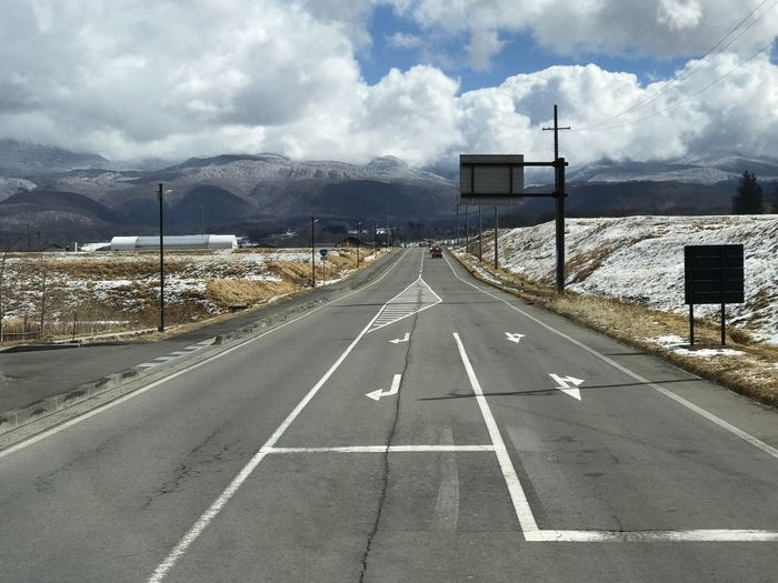 country road Mountain Range Mountain Japan Sky Landscape Country Road Long Roads Road Snow