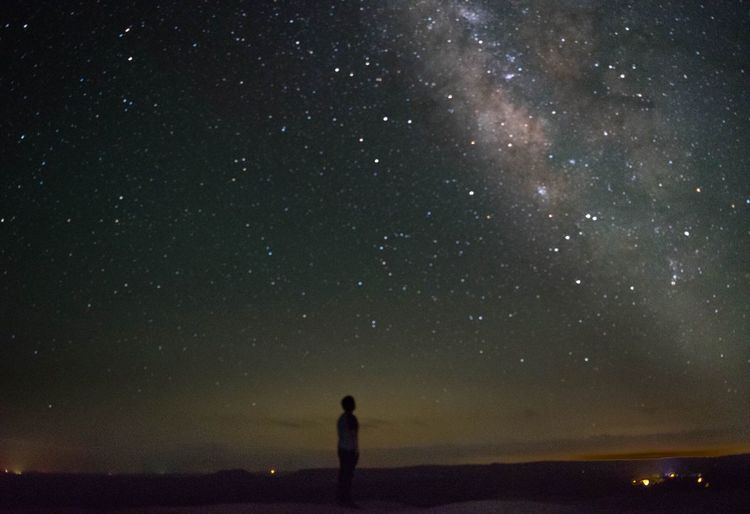Man looking at milky way at night