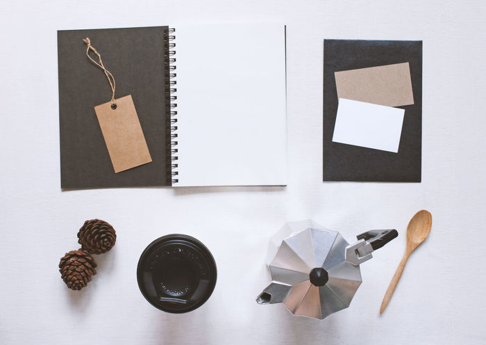 Coffee Moka Pot Book Copy Space Cup Directly Above Food And Drink Group Of Objects High Angle View Indoors  Kitchen Utensil Large Group Of Objects Mock Up Mockup Scene No People Note Pad Notebook Paper Preparation  Publication Still Life Studio Shot Table Top View Variation
