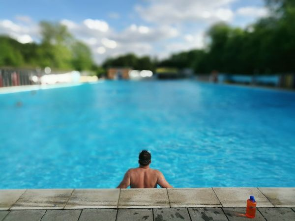 Lido Swimming Pool Summer One Person Relaxation Lido Tooting Bec Common Outdoor Swimming Poolside Postcode Postcards