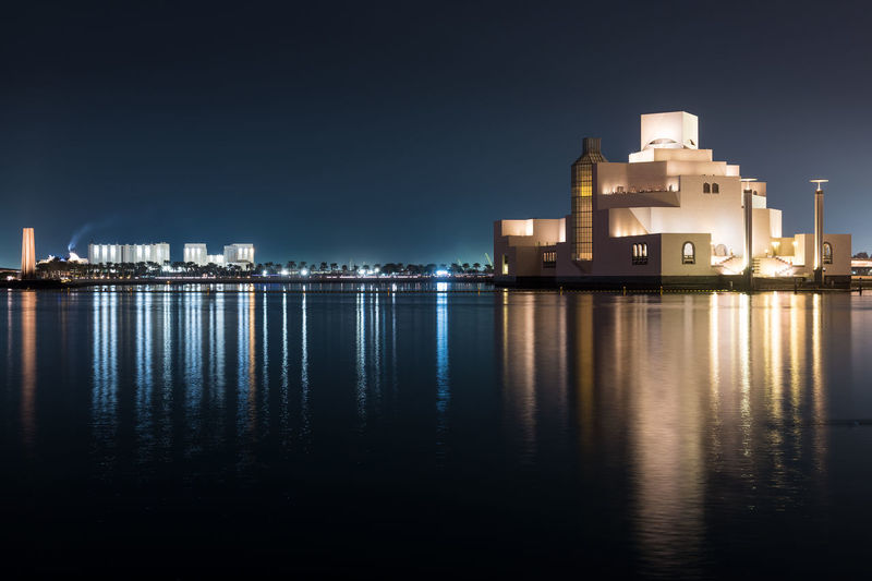 Museum Of Islamic Art Doha, Qatar, Middle East. Building Exterior Architecture Built Structure Building Water Illuminated Reflection City Sky Night No People Waterfront Nature Sea Outdoors Doha Qatar Middle East Museum Of Islamic Art