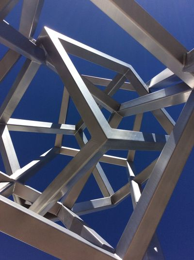 Street Art Sculpture Central Palm Springs design district Steel Structure  Box Shaped Feb 2016 USA California I-pad Photography From My Point Of View Looking Up Blue Sky Morning Sunshine