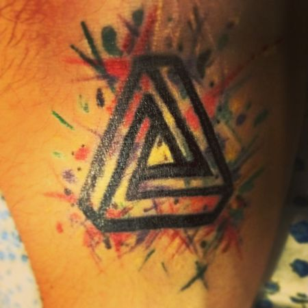 Triangle Tattoo Continuous Mixed color