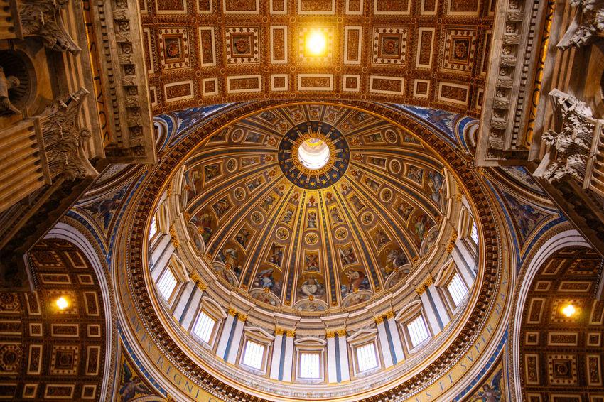 Saint Peter's Basilica Architecture Art ArtWork Belief Church Dome Low Angle View Painting Religion Roof Sacred Saint Peter's Basilica Travel Destinations Vatican Vatican City